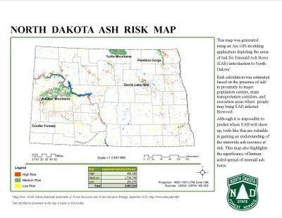 North Dakota Ash Risk Map