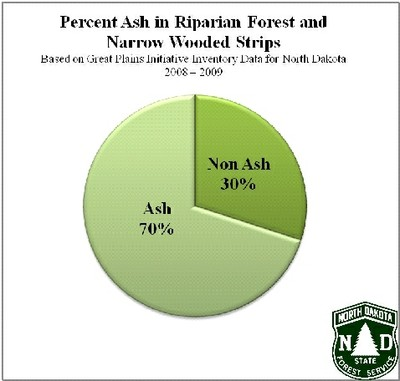 Percent ash in riparian forest buffer
